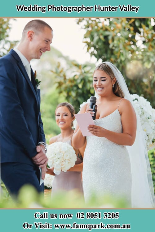 Photo of bride talking into microphone Hunter Valley
